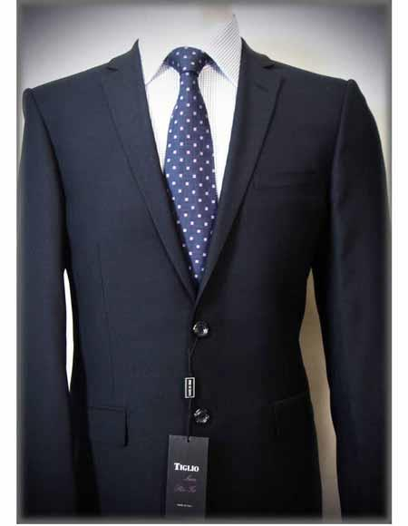 Mens Italian Authentic Tiglio Brand Dark Navy Solid Notch Lapel Two Button Slim Fit 100% Wool Suit
