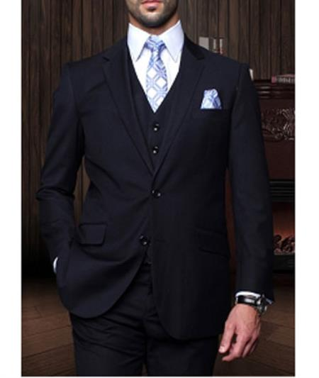 Statement Confidence  Mens Dark Navy 3 Piece 2 Button Italian Designer Fine Brands Best Italian Style Cut Suits
