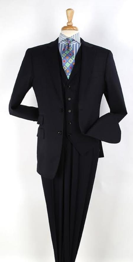 Mens Dark Navy 2 button Ticket Pocket Lapeled Vested Notch Lapel 100% Wool Wide Leg Pleated Pants - Dark Blue Suit Color
