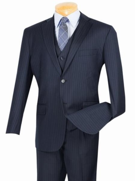 Men's 2 Button with Vest and Classic Pinstripe Suit