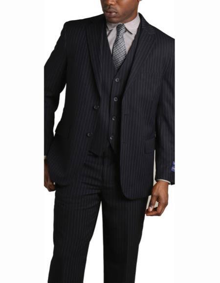 Men's 2 Button Vested Banker Pinstripe ~ Stripe 3 Piece Suit Dark Navy