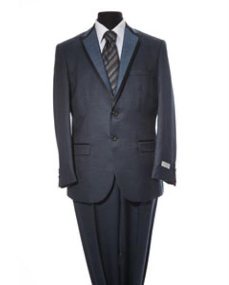 Mens Dark Navy 2 Button 2 Piece Suit