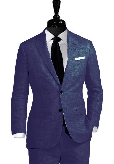 Buy WTX_Linen-2BV Alberto Nardoni Linen Navy Blue Vested 3 Pieces Summer Linen Wedding/Groom/Groomsmen Suit Jacket & Pants & Vest Notch Lapel Suit