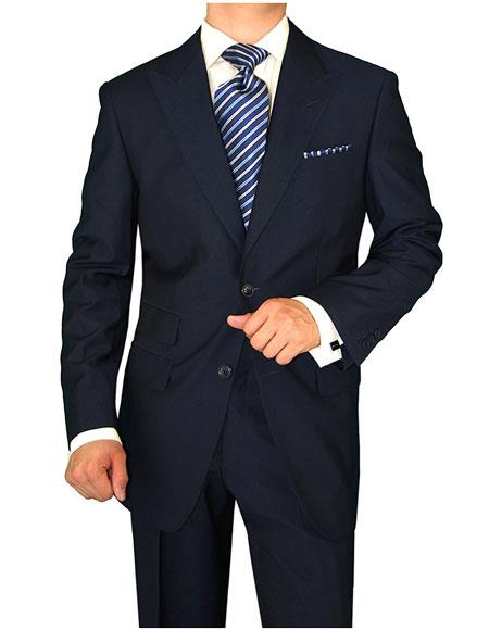 Mens Dark Navy 2 Button Single Breasted Side Vents Peak Lapel Modern Fit Suit