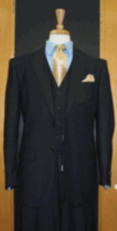 Two Button Dark Navy Flat Front three piece suit - Dark Blue Suit Color