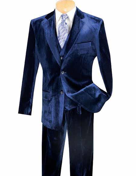 Dark Navy Blue Vested 3 Piece Velvet Suit ~ Pants Same Fabric