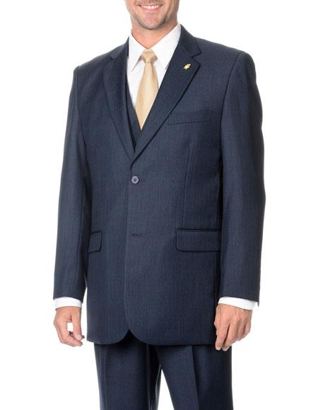 Falcone Mens Two Button Stylish Dark Navy 3-Piece Vested Suits with Flat Front Pant
