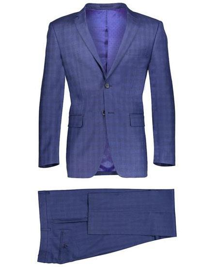 Navy Blue Suit - Navy Suit Mens Slim Fit 2 Button Dark Navy Suit Window Pane ~ Plaid Suit ~ Blazer & Pants