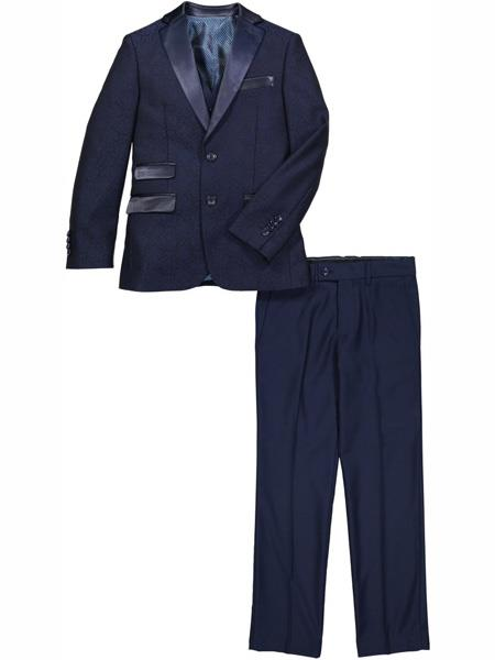 Men's Navy 2 Button One Chest pocket 3 Piece Suit