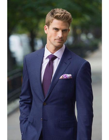 Mens Dark navy suit purple tie package deal 2 button notch lapel side vented Slim Fit or Regular Fit Cut