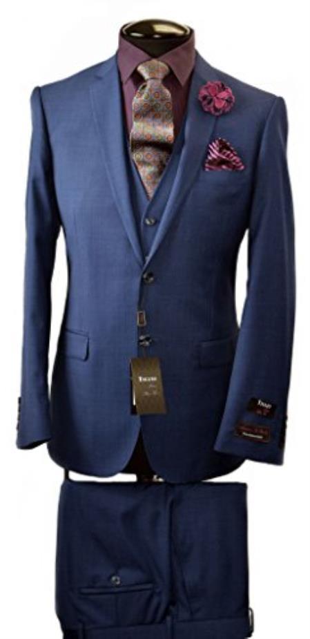 Tiglio Italian Two Button Dark Navy Slim Fit Suit & Vest
