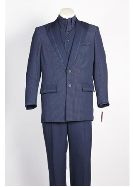 Buy S-5842 Mens 2 Button Single Breasted Suit Navy White