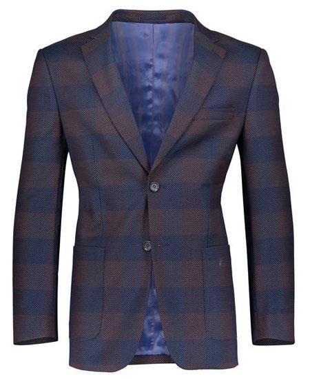Men's Navy Slim Fit Patch Pockets  Plaid ~ Windowpane ~ Checker Blazer
