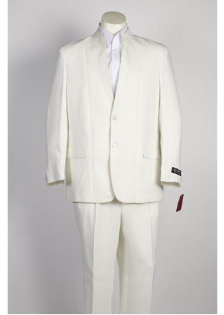 Mens 2 Button Off White Single Breasted Suit