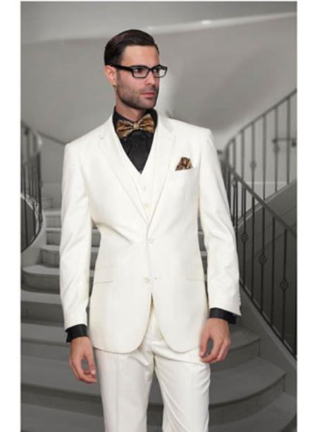 Statement Confidence Mens Off White 2 Button Modern Fit Wool Suit
