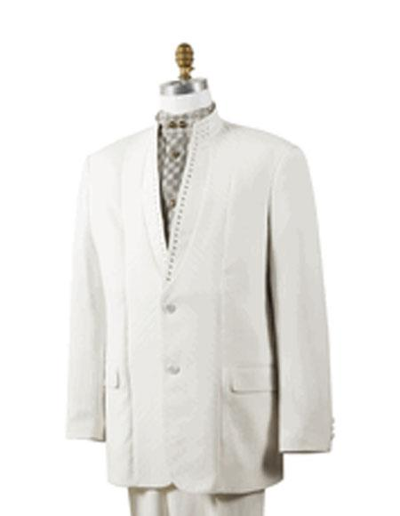 Men's Off White 2 Button Mandarin Collar Rhinestone Fashion Suit