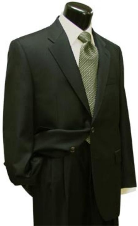 Mens Dark Olive Green (Hunter) 2 Button Super Wool Business - Wedding 2 piece Side Vented 2 Piece Suits For Men Side Vented Jacket