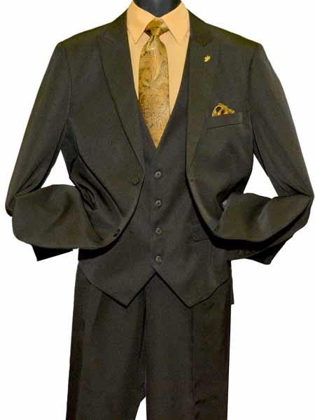 Mens Olive  Peak Lapel 2 Button Closure Vested Suit
