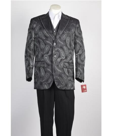 Men's Vested 2 Button Olive Green Paisley Blazer With Studded Trim, and black dress pants