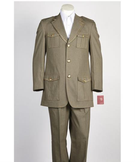 Mens diamond nail heads 2 Button Safari Military Style Olive Suit