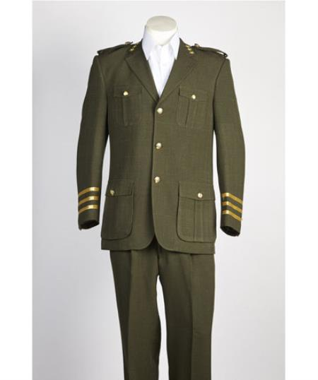 Mens diamond nail heads 2 Button Olive Safari Military Style Suit