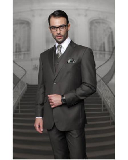 Statement Confidence Mens 2 Button Olive Modern Fit Wool Fine Brands Best Italian Style Cut Suits