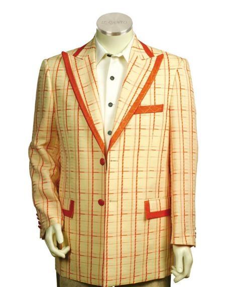 Men's Two Button Trimmed Two Tone Blazer/Suit/Tuxedo Peach Orange