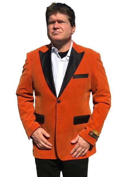 Mens Orange 2 Button Satin Peak Lapel Blazer