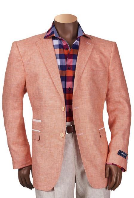 Buy SM4471 Men's Linen 2 Button Papaya Single Breasted Notch Lapel Blazer