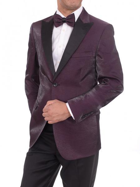 Men's Blue 2 Button Purple Sharkskin Slim Fit Blazer Sportcoat