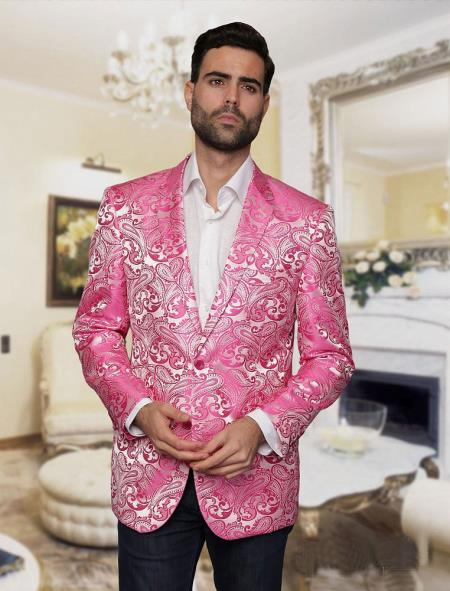 Alberto Nardoni Brand Fashion Hot Pink & Black Lapel  Tuxedo Dinner Jacket Blazer Shiny ~ Fuchsia Flashy