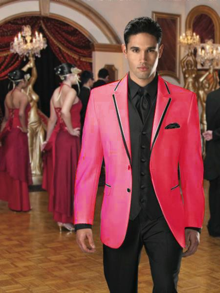 Sku Qg 93 Two On Stage Party Tuxedo Or Formal Suit Blazer With Black Edge Trim Fuchsia Fuschia Hot Pink 7 Days Delivery 450