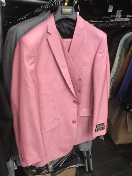 Mens 2 Button Single Breasted Flap Front pockets Vested Pink Suit