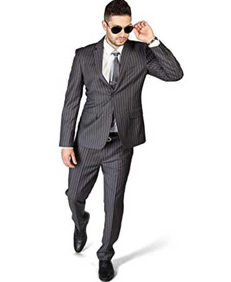 Men's Slim Fit Stripe ~ Skinny Style Grey 2 Button Pinstripe Flat Front Pants Cheap Priced Business Suits Clearance Sale