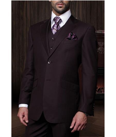 Statement Confidence Mens Plum 3 Piece 2 Button Italian Designer Fine Brands Best Italian Style Cut Suits