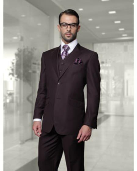 Statement Confidence Men's Plum (Eggplant) 2 Button Modern Fit Wool Fine Brands Best Italian Style Cut Suits