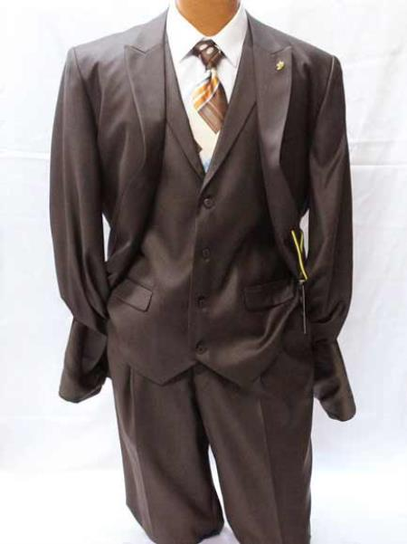 Falcone Pett Men's Brown Classic Fit Polyester 2 Button Peak Lapel Solid Vested Suit