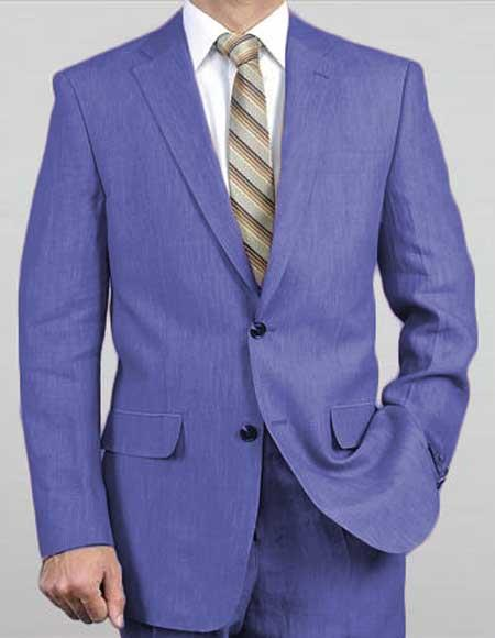 2 Button Notch Lapel Real Linen Suit