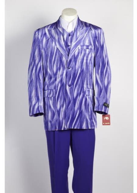 Mens 2 Button Single Breasted Suit Purple