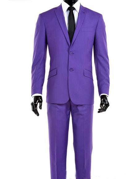 Alberto Nardoni Mens 2 Button Modern Fit  Light Purple Suit + Vest Dark Lav