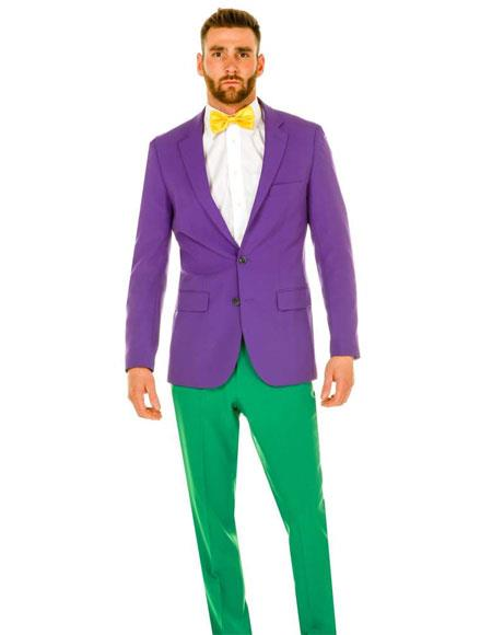 SKU#GD1585 Men's Single Breasted 2 Button Notch Lapel Purple Tuxedo Suit