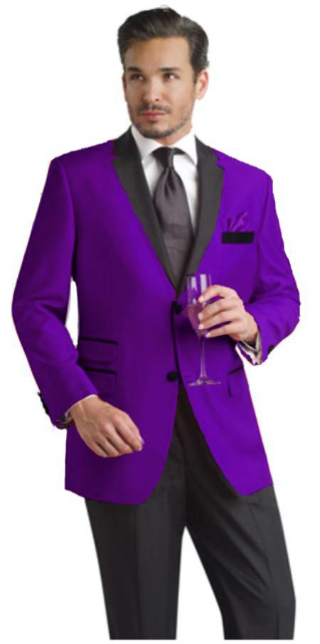 Purple Two Button Notch Party Suit & Tuxedo & Blazer w/ Black Lapel Velvet or Suit Fabric