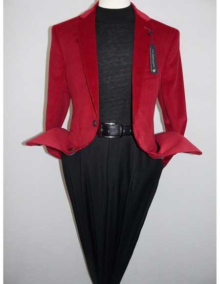 Men Red Modern Fit Notch Collar 2 Button Corduroy 100% Cotton Cheap Priced Blazer Jacket For Men Jacket Available December/28/2020