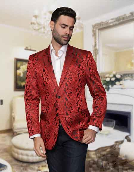 Mens Floral Sateen Unique Paisley  Sport Coat/Fancy Stage Party Two Toned Cheap Priced Blazer Jacket For Men / Dinner Mens Jacket Red / Sport coat