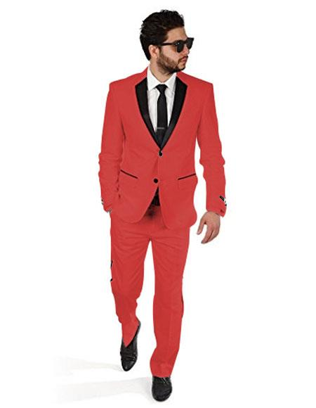 2BW2 Men's 2 Button Red Tuxedo with Black Satin Lapel and Red Flat Front Pants