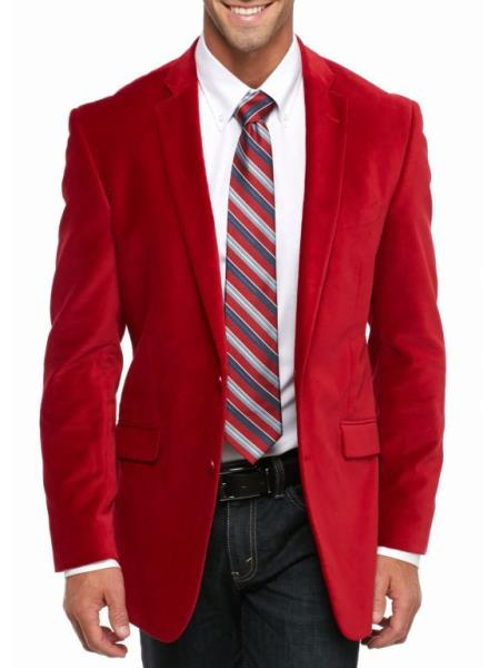 Cheap Big And Tall Blazers Clearance Velvet ~ Velour Cheap Priced Blazer Jacket For Men / Sport Coat Red