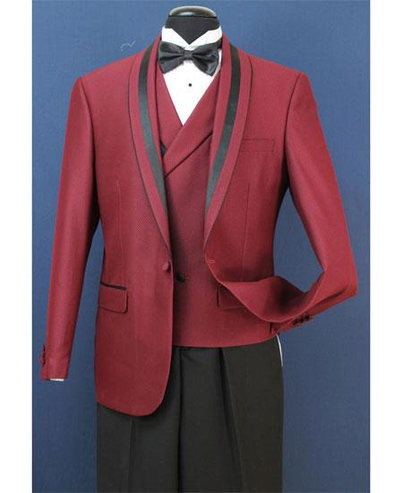 Mens Two Toned And Fashion Trim Lapel Wedding / Prom / Homecoming Tuxedo Burgundy Vested 3 Pieces