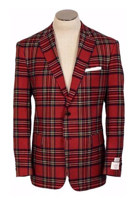 Two button red wool blazer 32538