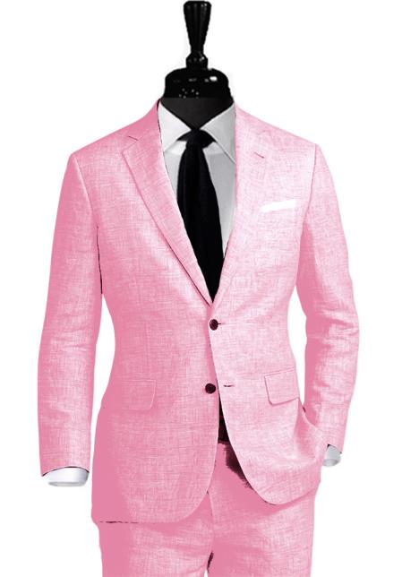 Alberto Nardoni Linen 2 Button Pink Vested 3 Pieces Summer Linen Wedding/Groom/Groomsmen Suit Jacket & Pants & Vest Suit