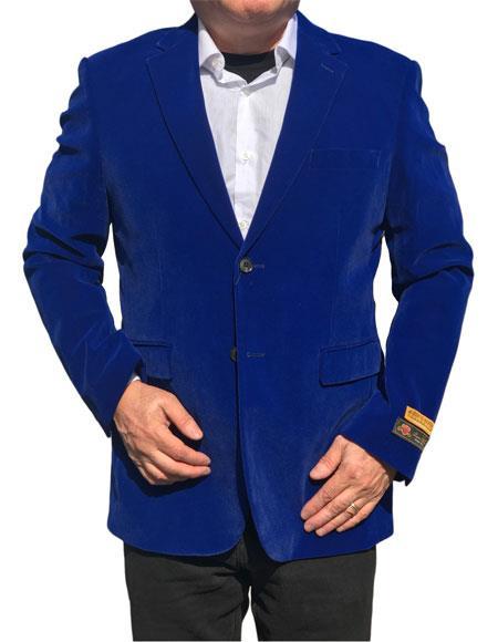 Alberto Nardoni Brand Royal Blue Velvet ~ Velour Mens blazer ~ Sport Coat Available Big Sizes